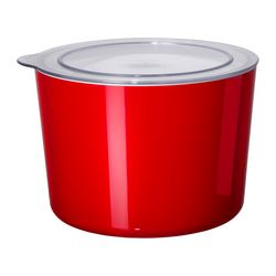 "LJUST jar with lid, clear, red Diameter: 8 "" Height: 6 "" Volume: 4 qt Diameter: 21 cm Height: 15 cm Volume: 3.9 l"