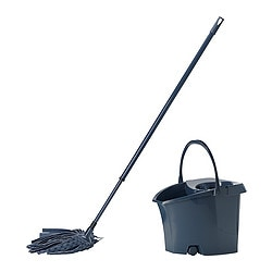 LÖDDER bucket with wetmop, assorted colours grey
