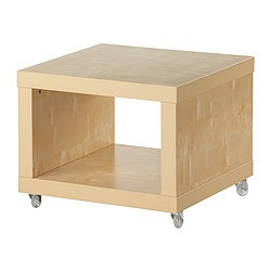LACK side table on castors, birch effect Length: 55 cm Width: 55 cm Height: 45 cm
