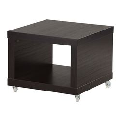 LACK side table on castors, black-brown Length: 55 cm Width: 55 cm Height: 45 cm