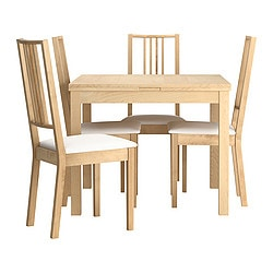 BJURSTA /  BÖRJE table and 4 chairs, birch veneer, Gobo white Length: 129 cm Min. length: 90 cm Max. length: 168 cm