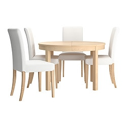 BJURSTA /  HENRIKSDAL table and 4 chairs, birch, Gräsbo white Max. length: 166 cm Diameter: 115 cm Height: 74 cm