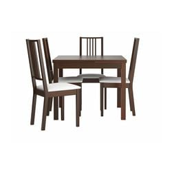 BJURSTA /  BÖRJE table and 4 chairs, brown, Gobo white Length: 129 cm Min. length: 90 cm Max. length: 168 cm