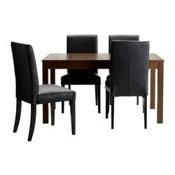 BJURSTA /  HENRIKSDAL table and 4 chairs, Glose black, brown Min. length: 140 cm Max. length: 220 cm Width: 84 cm