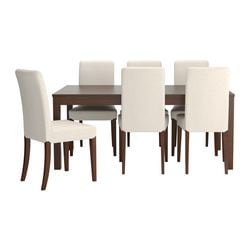 BJURSTA /  HENRIKSDAL table and 6 chairs, Linneryd natural, brown Length: 218 cm Min. length: 175 cm Max. length: 260 cm