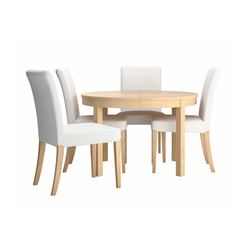 "BJURSTA /  HENRIKSDAL table and 4 chairs, Gobo white, birch veneer Max. length: 65 3/8 "" Diameter: 45 1/4 "" Height: 29 1/8 "" Max. length: 166 cm Diameter: 115 cm Height: 74 cm"