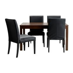 "BJURSTA /  HENRIKSDAL table and 4 chairs, Glose black, brown Length: 70 7/8 "" Min. length: 55 1/8 "" Max. length: 86 5/8 "" Length: 180 cm Min. length: 140 cm Max. length: 220 cm"