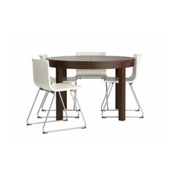 BJURSTA /  BERNHARD table and 4 chairs, brown, Kavat white Max. length: 166 cm Diameter: 115 cm Height: 74 cm