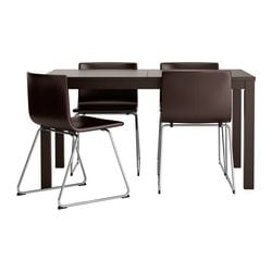 BJURSTA /  BERNHARD table and 4 chairs, Kavat dark brown, brown-black Min. length: 140 cm Max. length: 220 cm Width: 84 cm