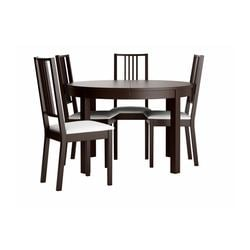 "BJURSTA /  BÖRJE table and 4 chairs, brown-black, Gobo white Max. length: 65 3/8 "" Diameter: 45 1/4 "" Height: 29 1/8 "" Max. length: 166 cm Diameter: 115 cm Height: 74 cm"