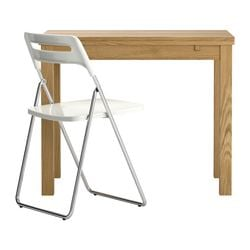 BJURSTA /  NISSE table and 1 chair, white, oak veneer Min. length: 50 cm Max. length: 90 cm Width: 90 cm
