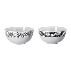 SKÄCK serving bowl, assorted patterns, white/black Diameter: 12 cm Height: 6 cm Package quantity: 2 pack