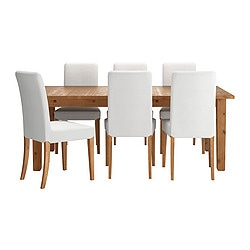 STORNÄS /  HENRIKSDAL table and 6 chairs, Gobo white, antique stain Min. length: 201 cm Max. length: 293 cm Width: 105 cm