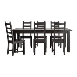 STORNÄS /  KAUSTBY table and 6 chairs, brown-black Min. length: 201 cm Max. length: 293 cm Width: 105 cm