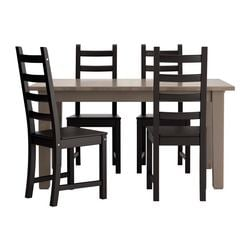 STORNÄS/ KAUSTBY table and 4 chairs, brown-black, grey-brown
