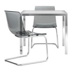 TORSBY/TOBIAS table and 2 chairs, grey, glass white
