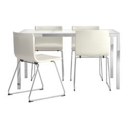 TORSBY/ BERNHARD table and 4 chairs, Kavat white, glass white