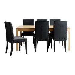 BJURSTA /  HENRIKSDAL table and 6 chairs, Glose black, oak veneer Min. length: 175 cm Max. length: 260 cm Width: 95 cm