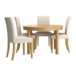 BJURSTA /  HENRIKSDAL table and 4 chairs, Linneryd natural, oak veneer Max. length: 166 cm Diameter: 115 cm Height: 74 cm