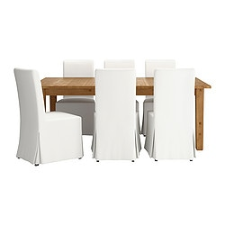 STORNÄS/ HENRIKSDAL table and 6 chairs, Blekinge white, brown-black