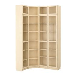 BILLY bookcase combination/crnr solution, birch veneer Length: 136 cm Width: 96 cm Depth: 28 cm