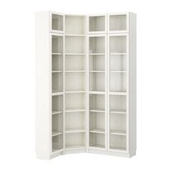 BILLY bookcase combination/crnr solution, white Length: 136 cm Width: 96 cm Depth: 28 cm