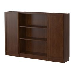 "BILLY bookcase with doors, medium brown Width: 63 "" Depth: 11 "" Height: 41 3/4 "" Width: 160 cm Depth: 28 cm Height: 106 cm"