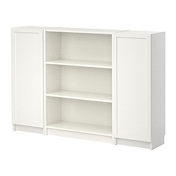 BILLY bookcase with doors, white Width: 160 cm Depth: 28 cm Height: 106 cm