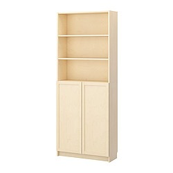 BILLY bookcase with doors, birch veneer Width: 80 cm Depth: 28 cm Height: 202 cm