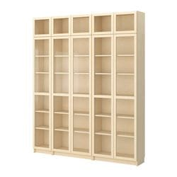 BILLY bookcase with glass door, birch veneer Width: 200 cm Depth: 28 cm Height: 237 cm