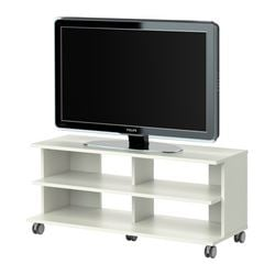 BENNO TV bench on castors, white Width: 118 cm Min. depth: 38 cm Max. depth: 42 cm