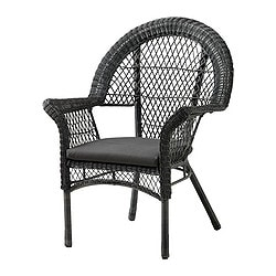 LÄCKÖ armchair with pad, outdoor, grey Width: 75 cm Depth: 66 cm Height: 96 cm