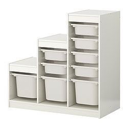 TROFAST storage combination with boxes, white, white Width: 100 cm Depth: 44 cm Height: 94 cm