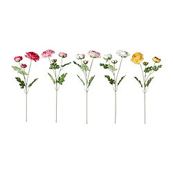 "SMYCKA artificial flower, Ranunculus assorted colors Height: 17 ¾ "" Height: 45 cm"