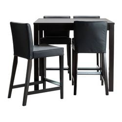 BJURSTA / HENRIKSDAL, Bar table and 4 bar stools, brown-black, Glose black