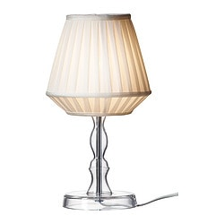 "MARBY table lamp, clear glass Height: 14 "" Shade diameter: 7 "" Cord length: 87 "" Height: 35 cm Shade diameter: 18 cm Cord length: 2.2 m"