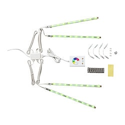 DIODER LED 4-piece lighting strip set, multicolour Luminous flux: 90 lm Length: 25 cm Cord length: 3.0 m