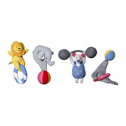 LEKA CIRKUS rattle, assorted designs Length: 15 cm
