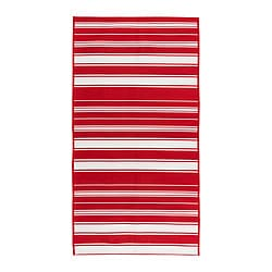 "ALSLEV rug, flatwoven, red/white Length: 4 ' 11 "" Width: 2 ' 7 "" Surface density: 4 oz/sq ft Length: 150 cm Width: 80 cm Surface density: 1160 g/m²"