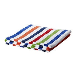 "BANDSJÖN bath towel, multicolor, blue Length: 55 "" Width: 28 "" Surface density: 1.64 oz/sq ft Length: 140 cm Width: 70 cm Surface density: 500 g/m²"