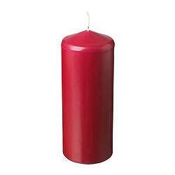 "FENOMEN unscented block candle, red Diameter: 3 ¼ "" Height: 9 ¾ "" Burning time: 90 hr Diameter: 8 cm Height: 25 cm Burning time: 90 hr"