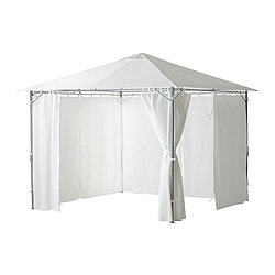 KARLSÖ gazebo with curtains, white Width: 300 cm Depth: 300 cm Height: 258 cm
