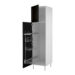 "AKURUM high cab/pull-out interior fittings, Ramsjö black-brown, white Width: 23 7/8 "" Depth: 24 1/8 "" Height: 88 1/4 "" Width: 60.8 cm Depth: 61.2 cm Height: 224.3 cm"