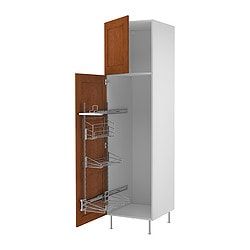 "AKURUM high cab/pull-out interior fittings, Ädel medium brown, white Width: 23 7/8 "" Depth: 24 1/8 "" Height: 88 1/4 "" Width: 60.8 cm Depth: 61.2 cm Height: 224.3 cm"