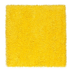 HAMPEN rug, high pile, yellow Length: 80 cm Width: 80 cm Surface density: 2050 g/m²