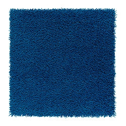 HAMPEN rug, high pile, bright blue Length: 80 cm Width: 80 cm Surface density: 2050 g/m²