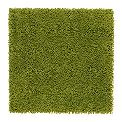 HAMPEN rug, high pile, bright green Length: 80 cm Width: 80 cm Surface density: 2050 g/m²
