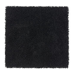 HAMPEN rug, high pile, black Length: 80 cm Width: 80 cm Surface density: 2050 g/m²