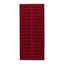"HERRUP rug, low pile, red Length: 4 ' 11 "" Width: 2 ' 7 "" Surface density: 5 oz/sq ft Length: 150 cm Width: 80 cm Surface density: 1650 g/m²"