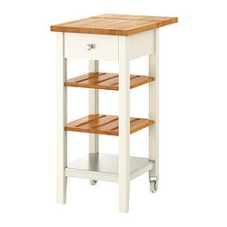 STENSTORP kitchen trolley, oak, white Width: 43 cm Min. depth: 44.5 cm Max. depth: 62 cm